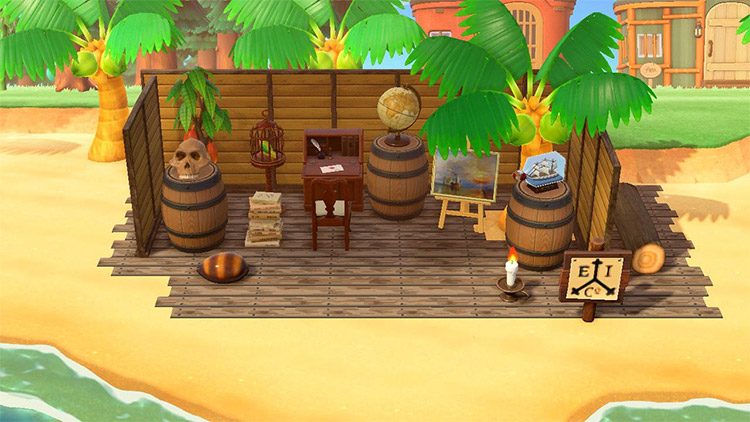 Pirate trading post on the beach in ACNH