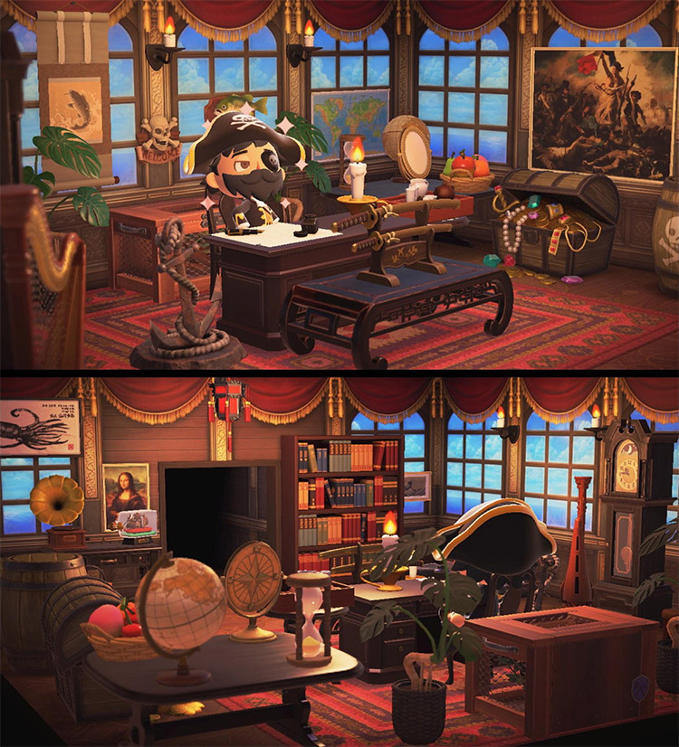 Home study room with a pirate theme in ACNH