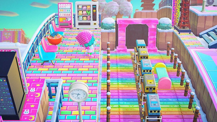Bright rainbow train station design in ACNH