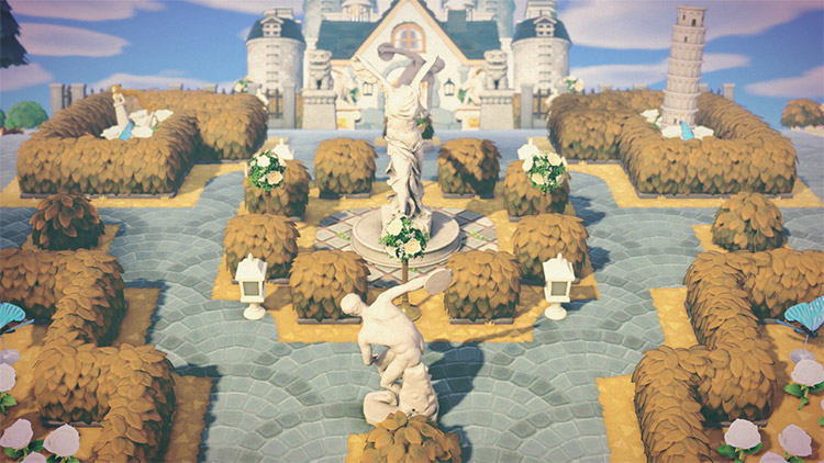 Mansion with garden statues