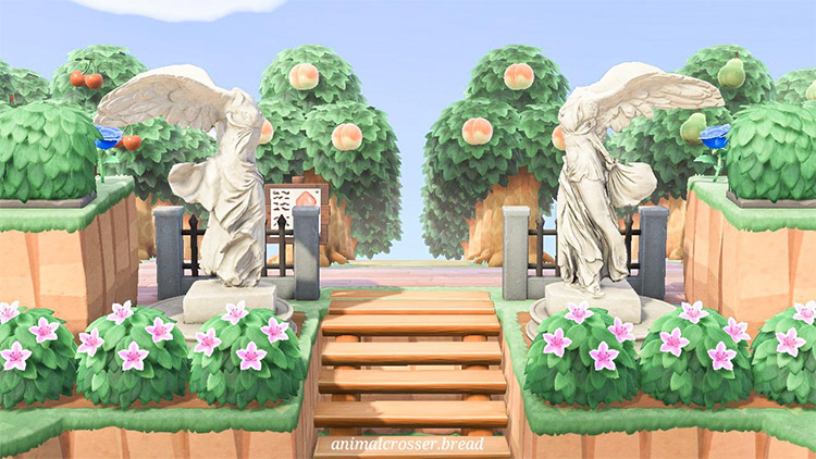 Custom orchard entrance with statues - ACNH Idea