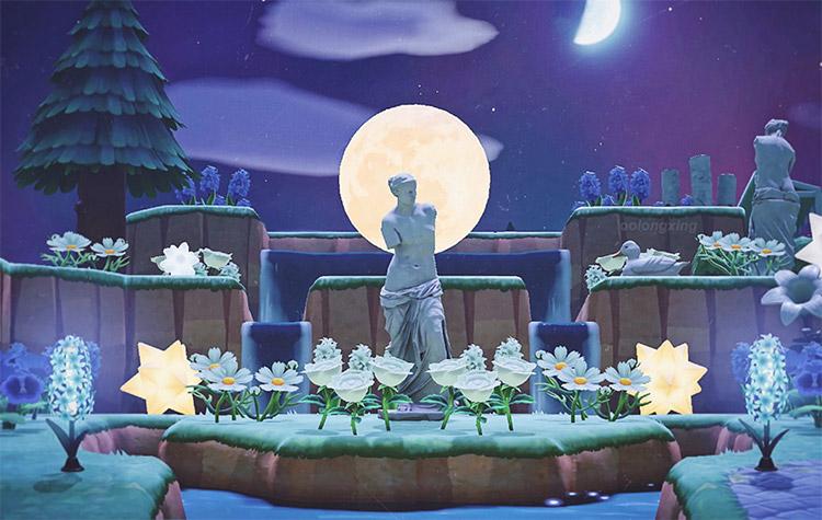 Moonlit garden statue pond in ACNH