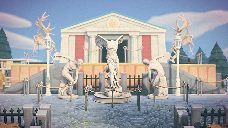 Museum Entrance with statues in New Horizons
