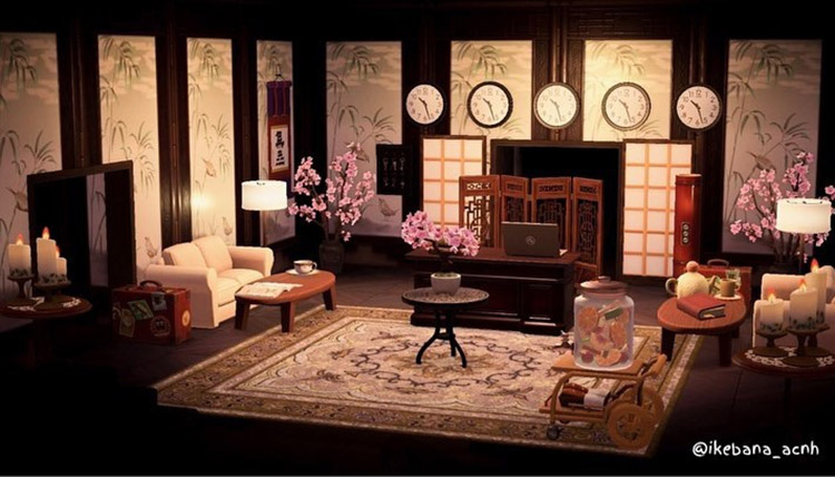 Japanese-themed hotel lobby design in ACNH