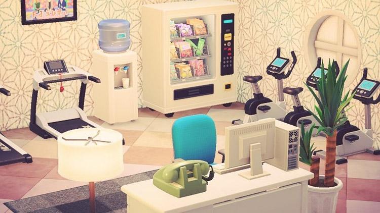 Hotel fitness center room design in ACNH