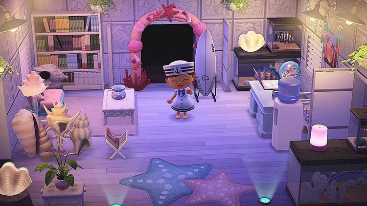 Ocean themed inn lobby - ACNH Idea