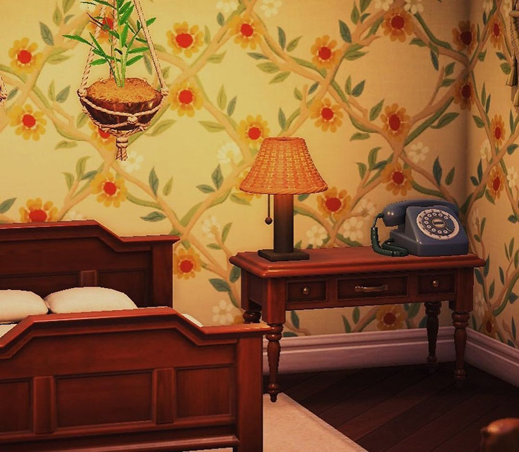 Inn bedroom design with a bedside lamp in ACNH