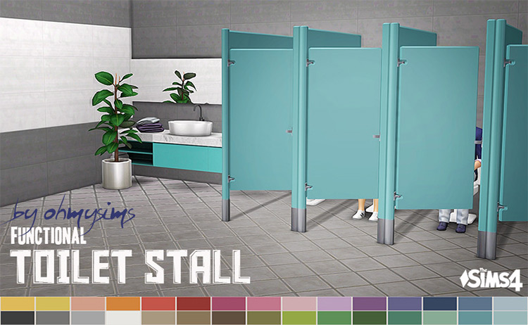 Functional Toilet Stall Sims 4 CC