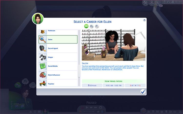 Ellenplop's Salon Career Sims 4 CC