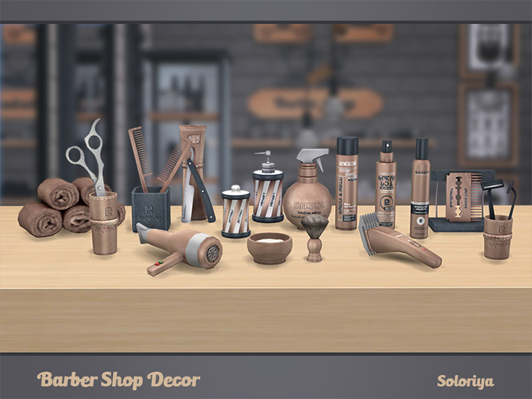 Soloriya's Barber Shop Décor for Sims 4