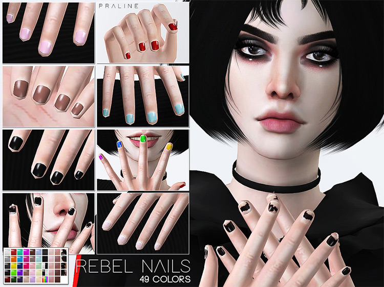 Pralinesims' Rebal Nails N25 for Sims 4