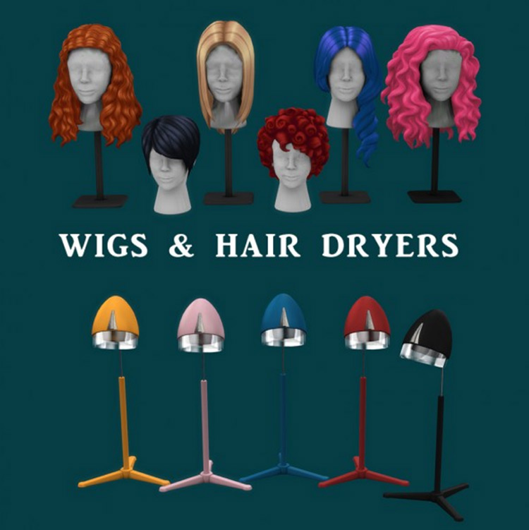 Leo 4 Sims' Wigs and Hair Dryers for Sims 4