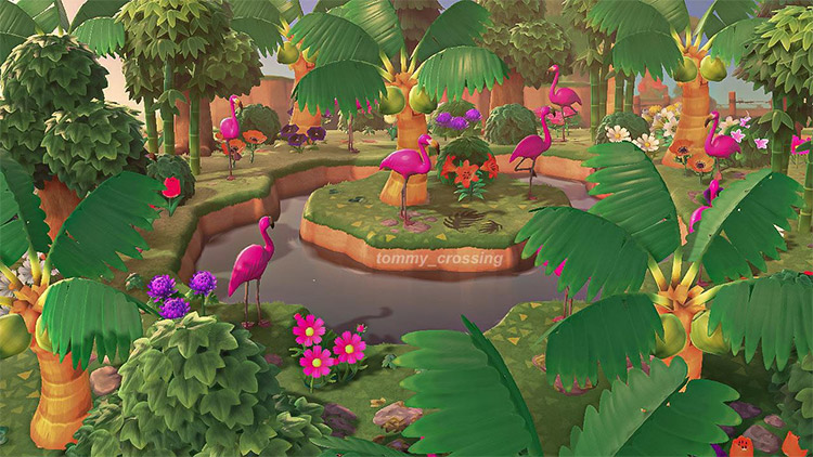 Flamingo Watering Hole Idea in ACNH