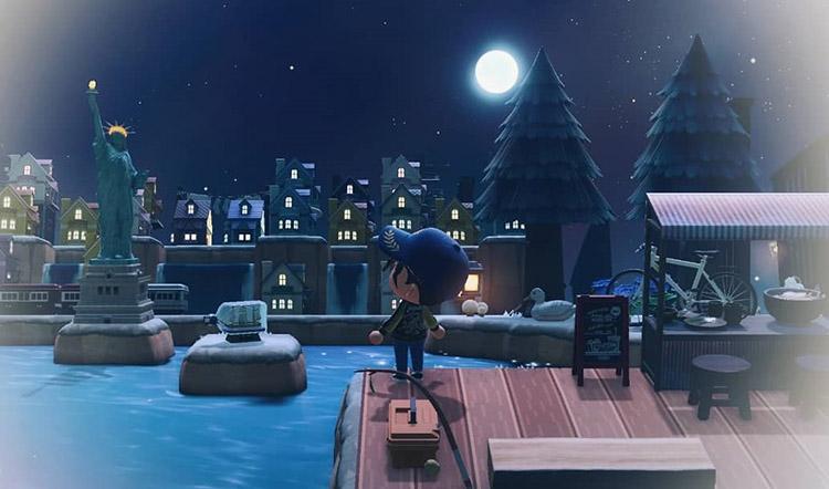 New York City Lake Harbor Designed in Animal Crossing New Horizons