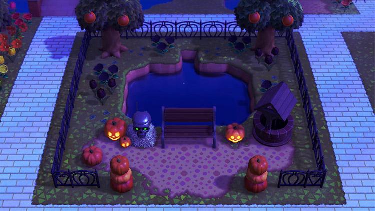 Spooky Pumpkin Pond Design in ACNH