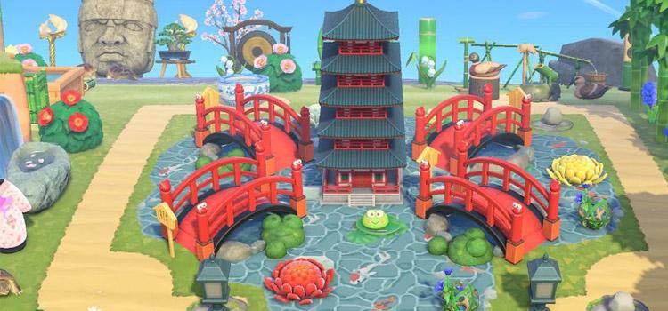 Zen Bridges Leading to a Pagoda in New Horizons