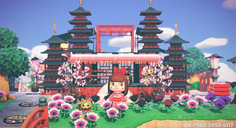 Flower field with pagodas - ACNH Idea