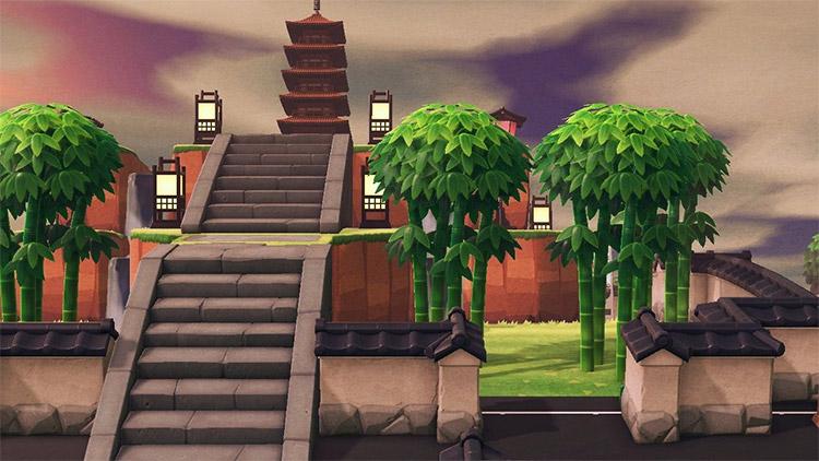 Huge Pagoda with custom steps - ACNH Idea