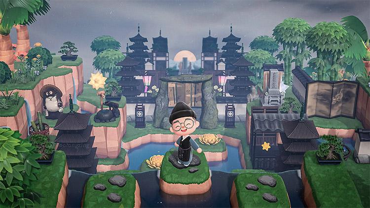 Dark Pagodas in a Zen Garden - ACNH Idea