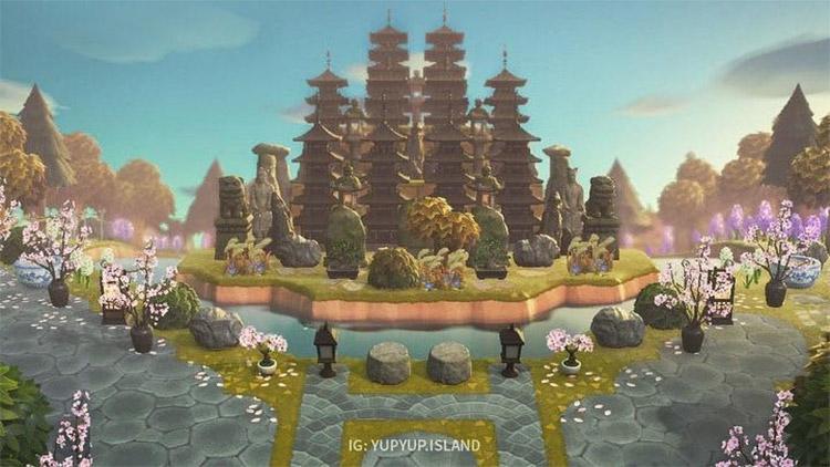 Custom pagoda lake and island design - ACNH Idea
