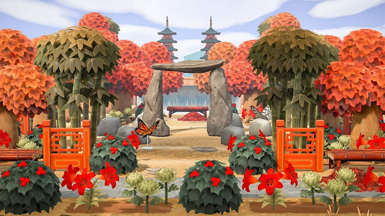 Imperial forest with pagodas in Autumn - ACNH Idea