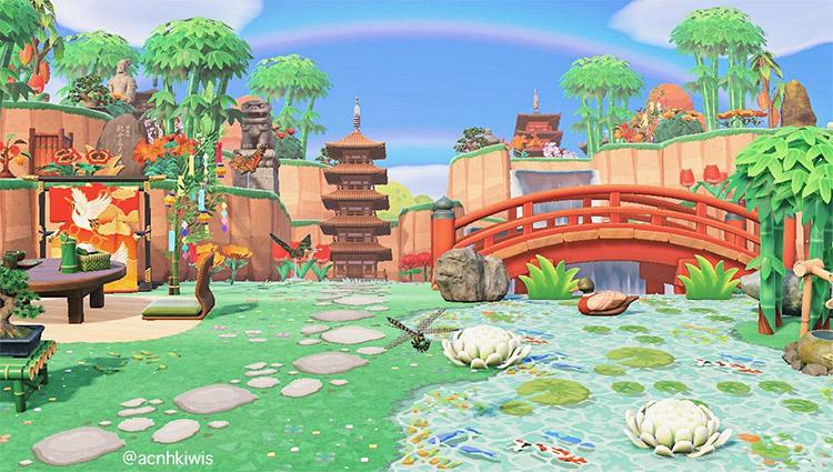 Koi pond with pagodas - ACNH Idea