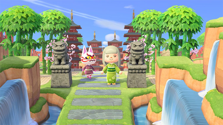 Waterfalls and pagoda entrance design in ACNH