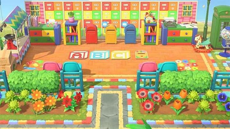 Outdoor preschool learning area in ACNH
