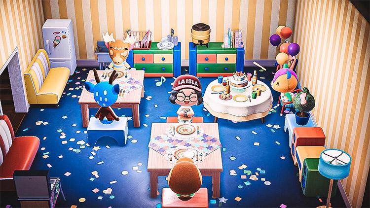 Kids birthday party interior in ACNH