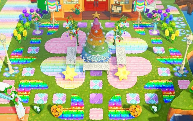 Holiday kidcore town square area in ACNH