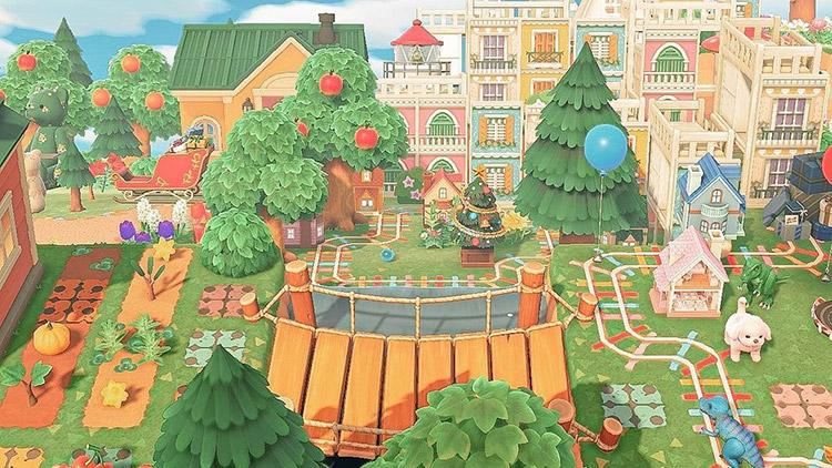 Custom tiny toy village design in ACNH