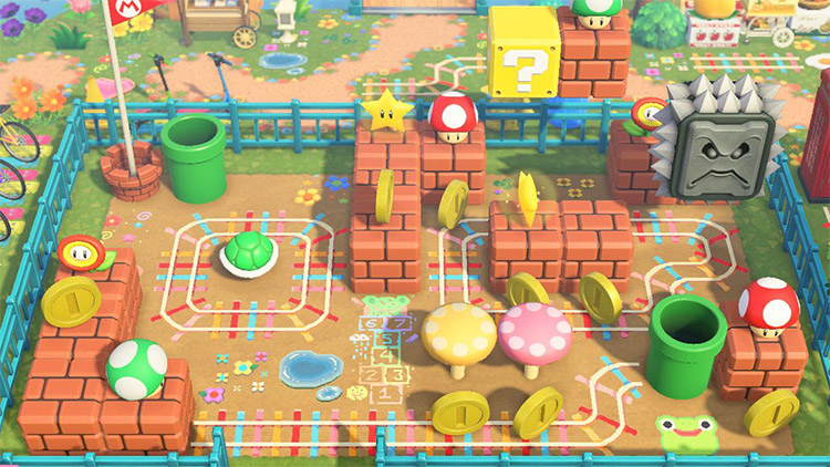 Super Mario-themed kidcore playground in ACNH