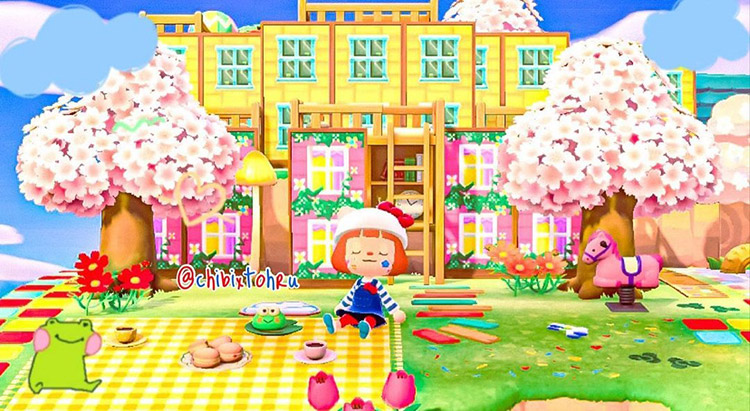 Kidcore-style treehouse area in ACNH