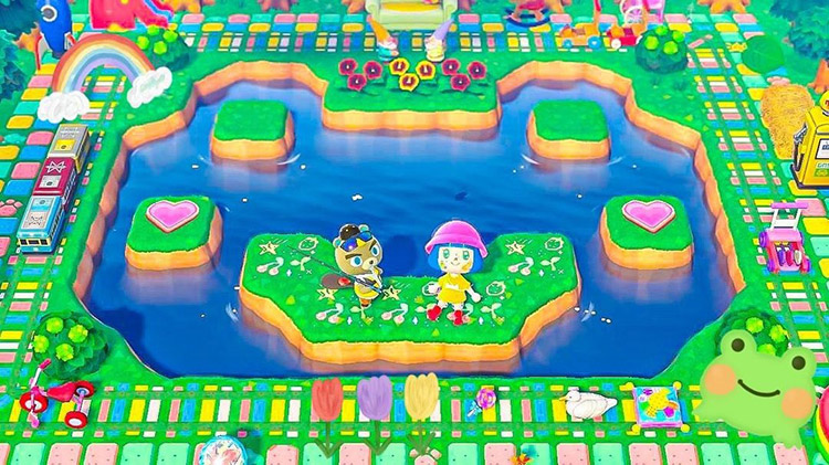 Frog pond with a kidcore design in ACNH