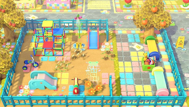 Colorful kidcore playground idea for New Horizons