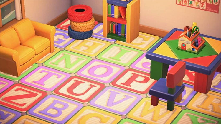 Kidcore block pattern in playroom design for New Horizons