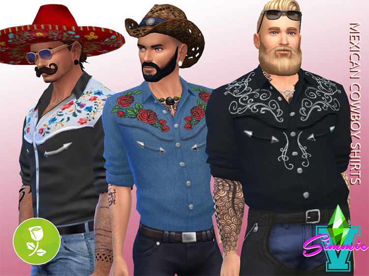 Mexican Cowboy Shirts Sims 4 CC