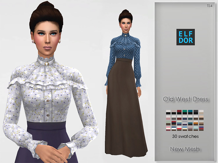 Old West Dress for Sims 4