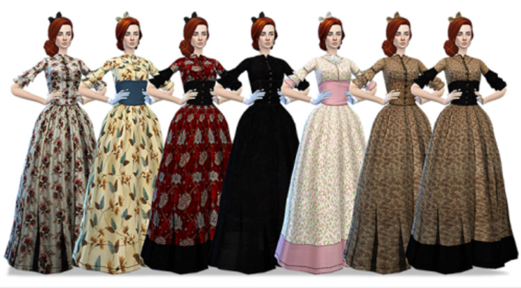 Old West Hoop Dresses (+ Matching Hats & Bows) TS4 CC