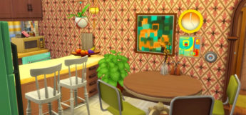 Sims 4 1970s-style apartment aesthetic