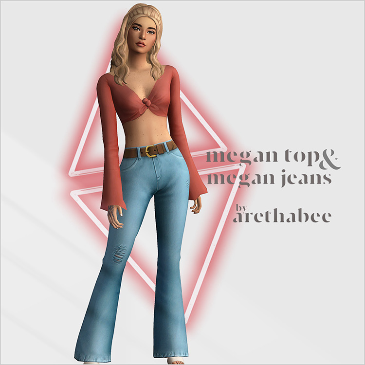 Megan Tied Top + Jeans for Sims 4