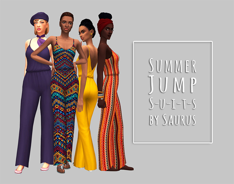 Summer 70s Jumpsuit Collection for Sims 4