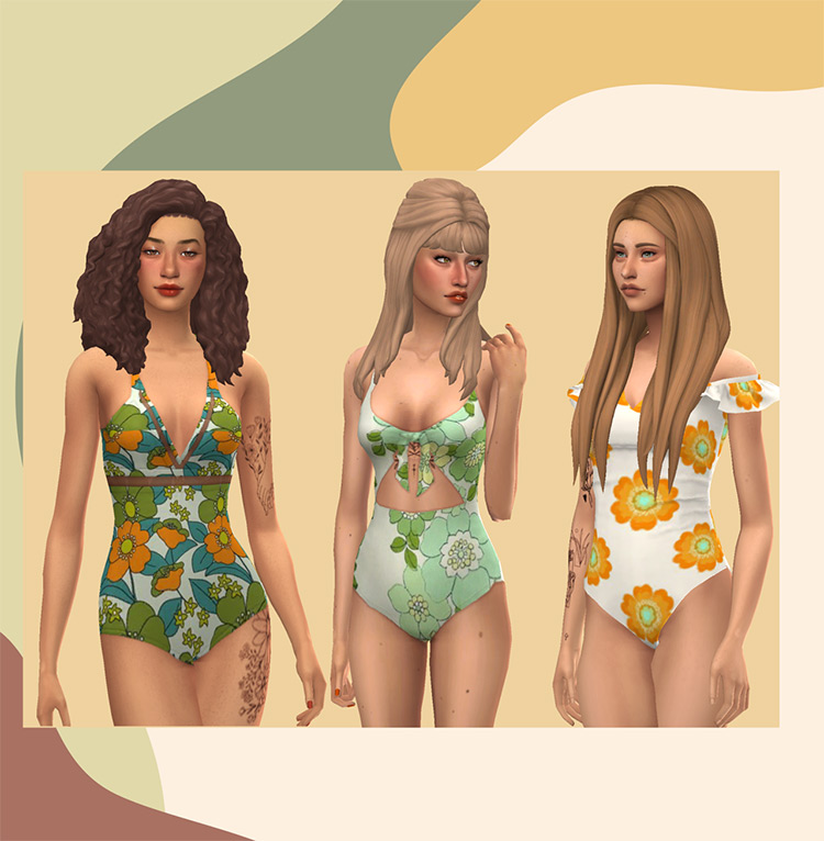 1970s Swimsuit Recolors Sims 4 CC