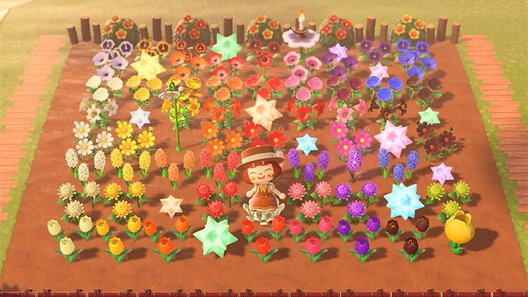 Outdoor flowers areas for hippie ACNH Island