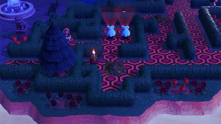 Spooky garden maze design in ACNH
