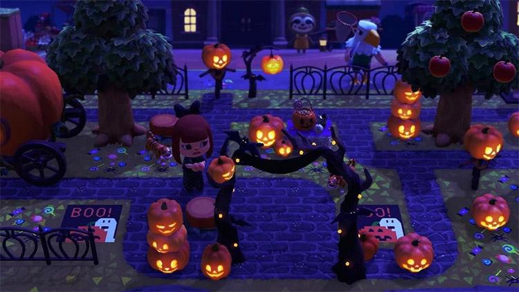 Spooky pumpkin-themed entrance idea in ACNH