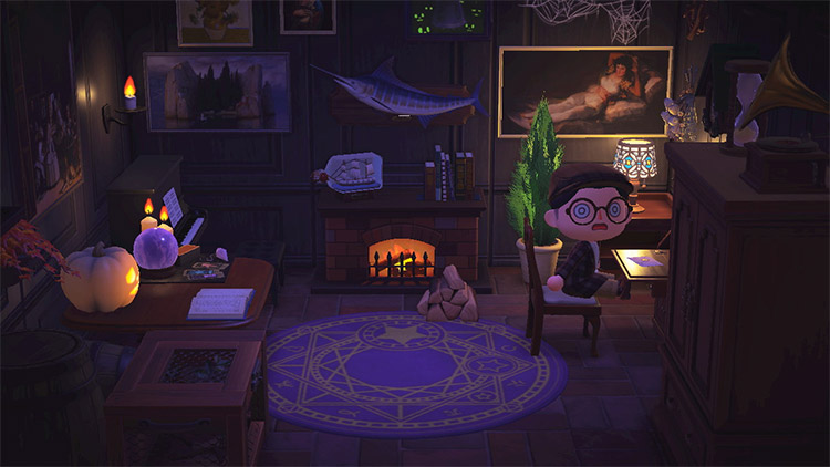 Writers Nook with spooky theme in ACNH