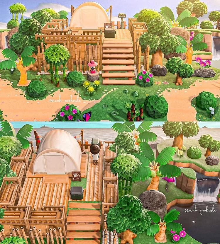 Custom treehouse campsite idea in ACNH