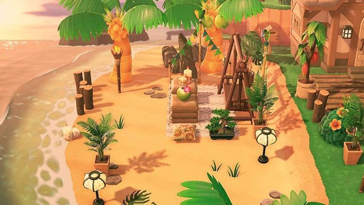 Tropical junglecore beach area in ACNH