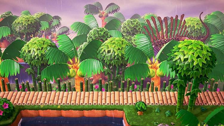 ACNH idea for a Prehistoric Junglecore Rainforest
